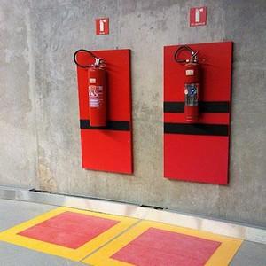 Demarcação de piso para extintores e hidrantes